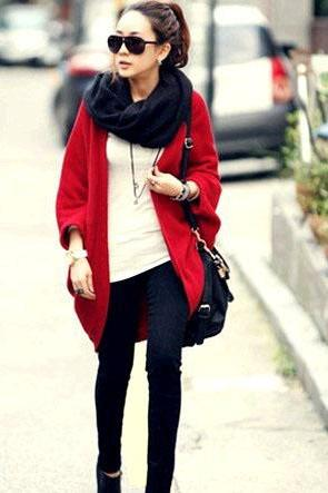 Cardigan Batwing Red Knitting Women's Sweater