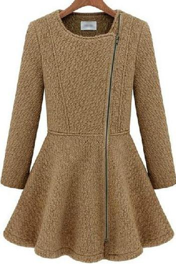 High Quality All Matched Long Sleeve Woolen Coat For Winter - Light Tan