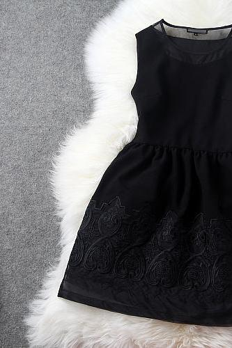 High Quality Designer Embroidered Organza Dress For Women - Black