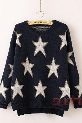 Star Print Knitted Sweater / Pullover