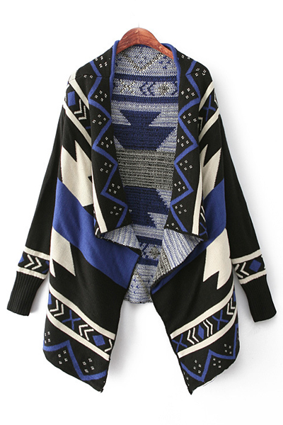 Fashion Long Sleeves Geometric Print Asymmetrical Short Blue Cardigan Sweater