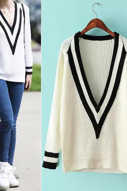 White Deep V Neck Knitting Sweater Winter Pullover