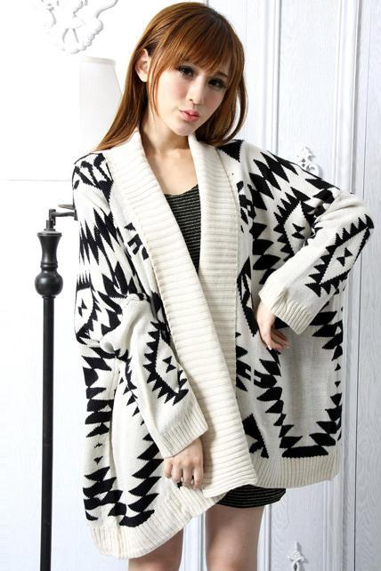 Free Shipping Loose Geometry Pattern Long Sleeve Knitting Wool Cardigans