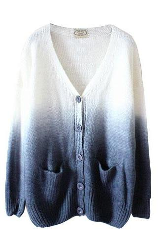 Leisure Gradient Color Knit Cardigan