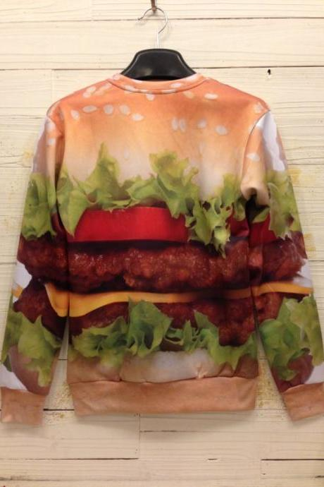 M L XL Sweater New Fall Winter 2013/14 Harajuku Yummy 3D Little Bit Fat Hamburger Sweater S M L XL