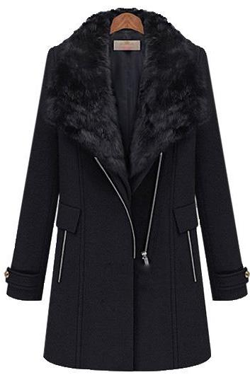 Vogue Long Sleeve Turndown Collar Winter Coat - Black