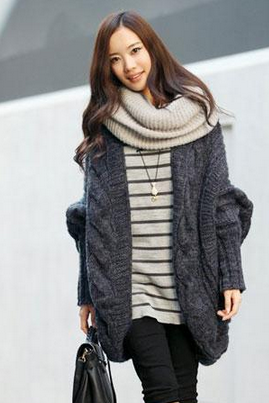 New Womens Cable Knitted Batwing Sleeve Cardigan Tops Knitwear Sweater Outwear Cape