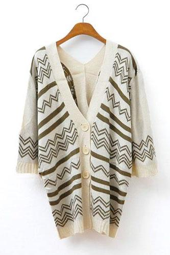 Retro Loose Fitting Wavy Strip Pattern Cardigan - Khaki