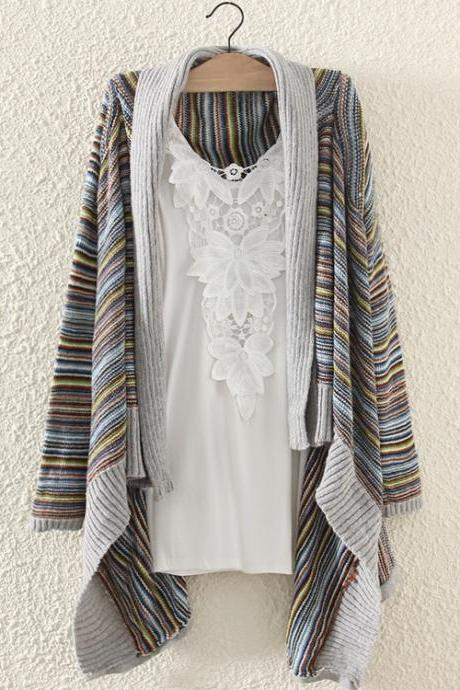 Woman'S Stripes Pattern Longline Cardigan With Asymmetrical Hems 081218