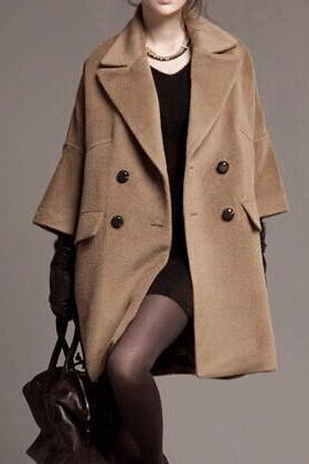 Beige Wool Coat Jacket For Women Trench Coat Outwear Top Women Clothing