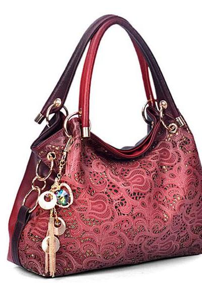 Fashion Auspicious Printed Clouds Carving Handbag