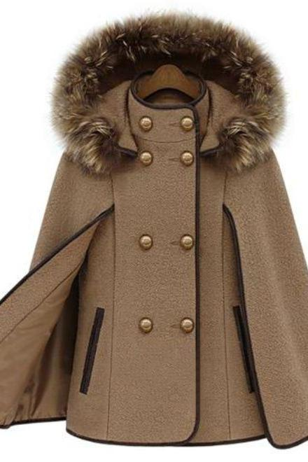 KHAKI CAPE Stand Collar Double Breasted Cape Mantle Type Wool Coat With Hood-