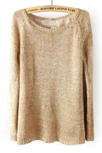 Khaki color Autumn And Winter Sequined Behind Button Split Knitted Sweater Knitted sweater
