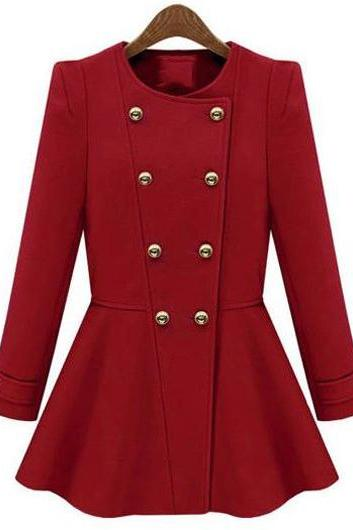 Fashion Round Neck Double Breasted Woman Coat - Red