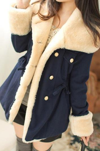 High Quality Long Sleeve Turndown Collar Woolen Coat - Dark Blue