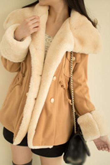 High Quality Long Sleeve Turndown Collar Woolen Coat - Light Tan