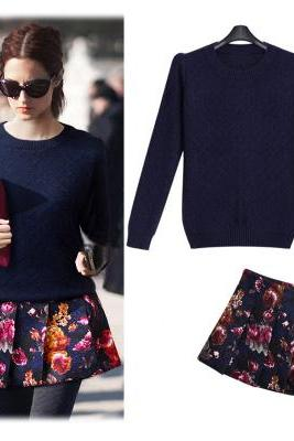 Autumn outfit shoulder pads set of knitting sweater + rose printing head dark skirt two-piece outfit