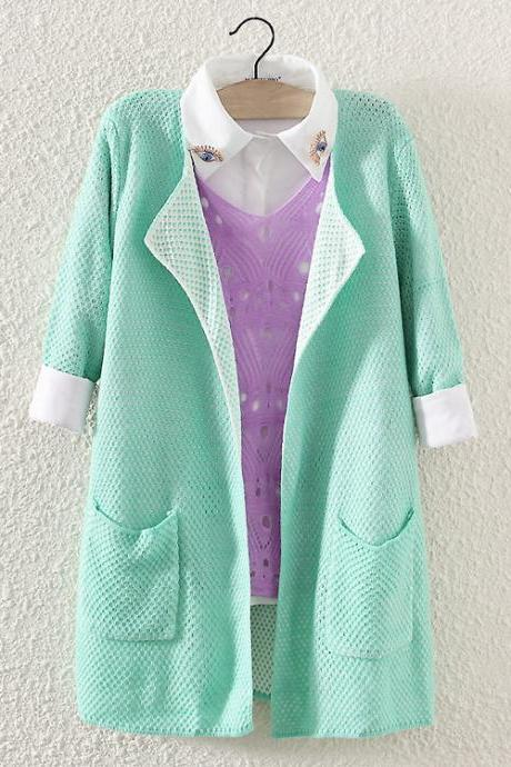 Woman'S 2/3 Sleeve Longline Cardigan With Pockets