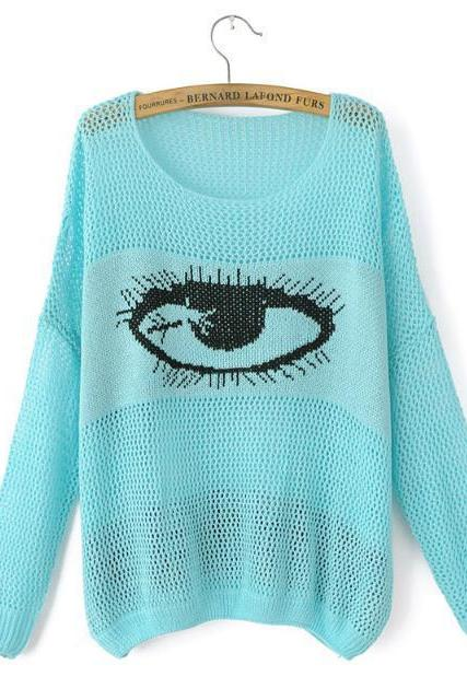 Woman'S Eye Pattern Round Neck Sweater