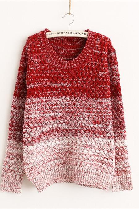 Woman'S Gradient Stripe Pattern Round Neck Sweater