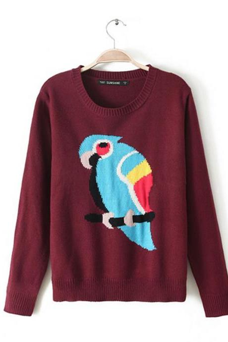 Woman'S Parrot Pattern Round Neck Sweater