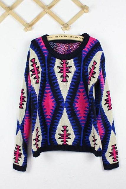 Woman'S Rhombus Pattern Round Neck Sweater