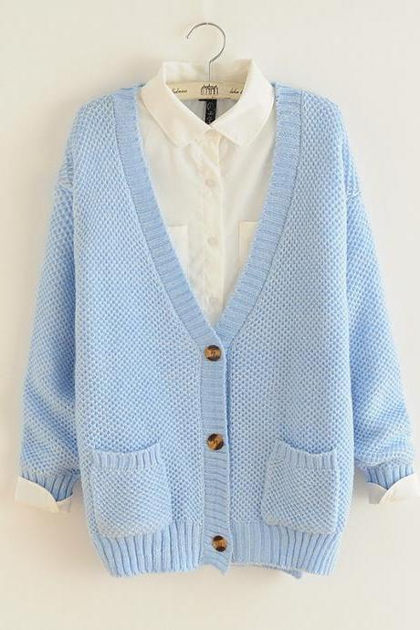 Woman'S V Neck Sweater Cardigan With Patch Pockets
