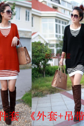 Early autumn new suit show thin big yards dress loose long-sleeved dress autumn fashion