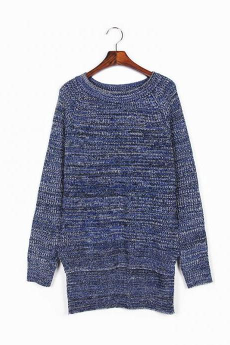 Woman'S Dark Blue Round Neck Long Sweater
