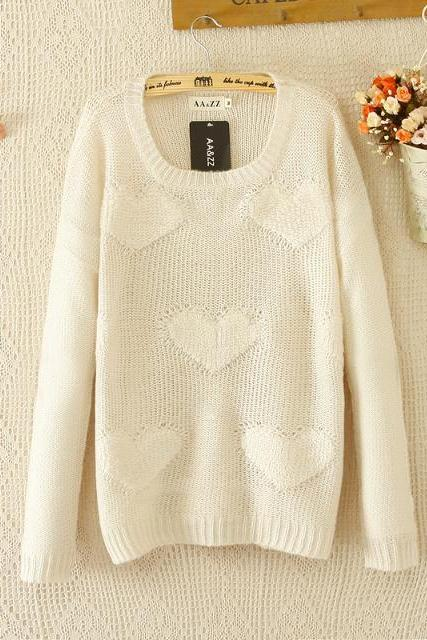 Woman'S Hearts Pattern Beige Sweater 081234