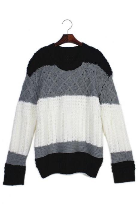 Woman'S Patchwork Round Neck Sweater