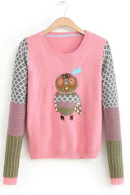 Woman'S Penguin Pattern Round Neck Sweater With Patchwork Shoulder