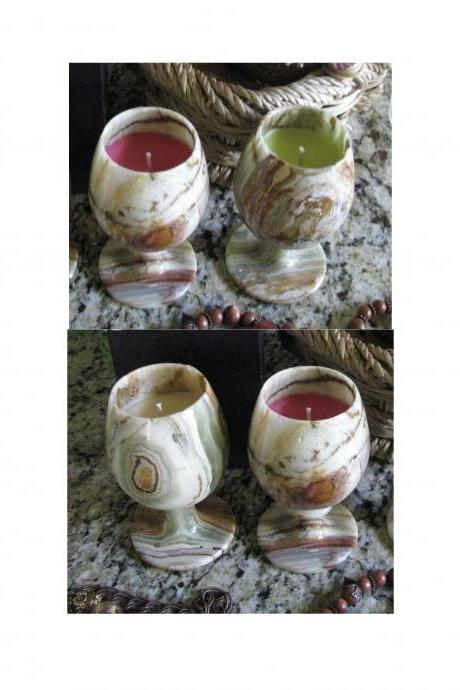Save on 4 VERY UNIQUE HANDCRAFTED Highly Scented Candle 6 oz Genuine MARBLE WINE GOBLET Your Choice of HONEY Scents