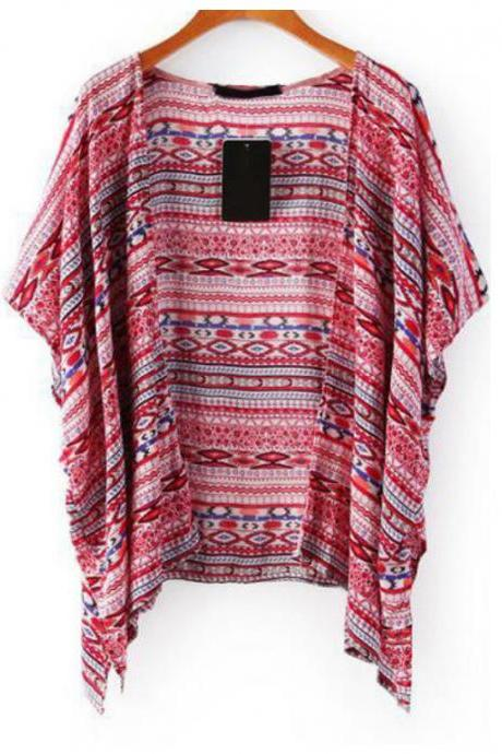 Hot Top Spring/Fall New Arrival Fashion Women Special Harajuku Red Short Sleeve Tribal Print Loose Kimono Oversized
