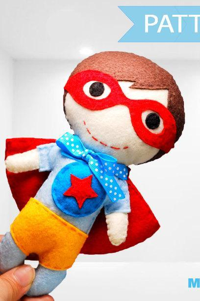 Superhero Sewing Pattern - Felt Superhero Toy PDF ePATTERN, Kids craft Project Instant Download A977