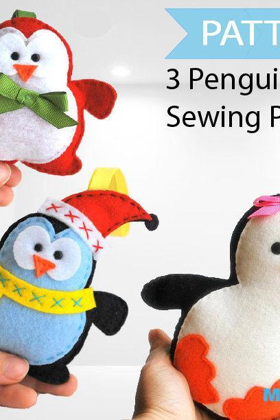 3 penguin patterns, Felt Christmas Penguin Patterns, Pattern Bundle PDF Sewing pattern A1086