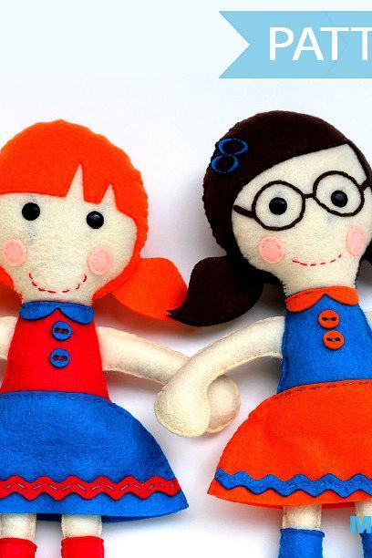 Felt Rag doll sewing pattern, Two doll pattern pack A1089