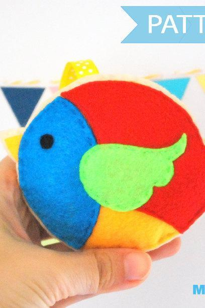 Felt Christmas Bird, Colorful bird Ornament A1093