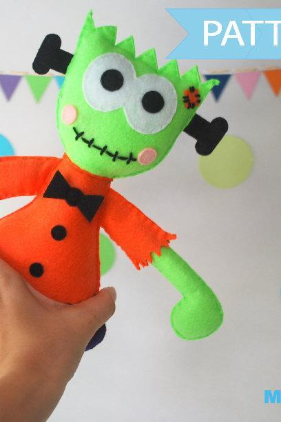 Halloween Sewing Pattern Toy , Felt Frankie Halloween Toy, Toy Frankenstein , PDF sewing Pattern A1098