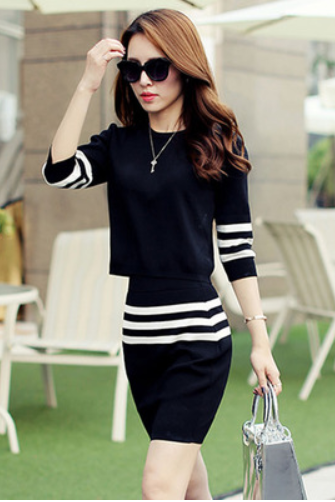 Early autumn the two-piece sleeve dress new cultivate one's morality show thin elegant temperament bag hip skirt