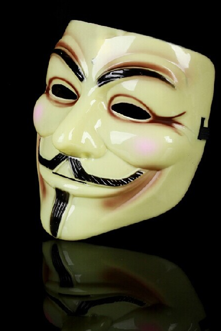 Hackers to mask V for Vendetta V word thickened section of V for Vendetta mask mask