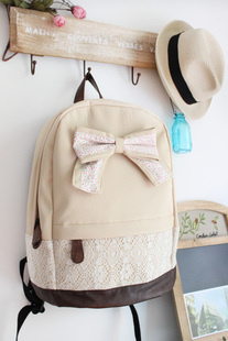 Cream Backpack With Red Floral Bow & Lace