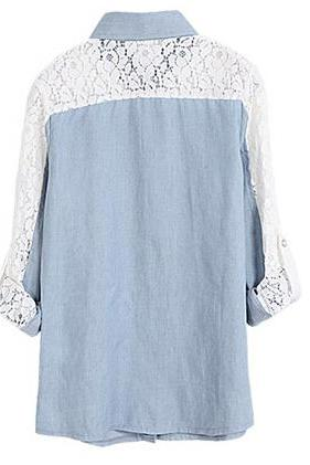 Fashion Light Blue Denim Shirt With Lace Back