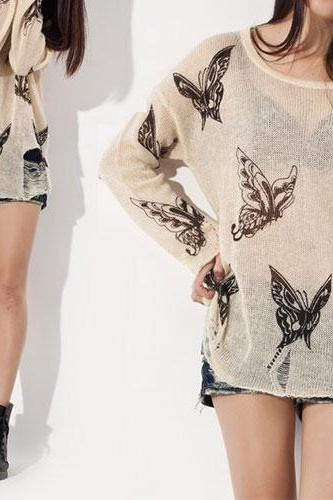Fashion Punk Style Loose Fitting Frayed Butterfly Print Shirt - Apricot