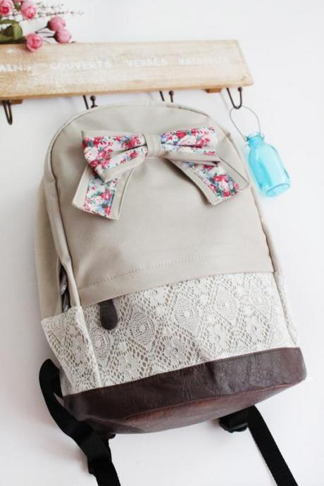 Griege Backpack With Red Floral Bow & Lace