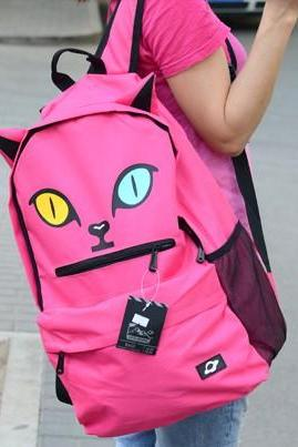 Harajuku Style Fuchsia Kitty Backpack Handbag