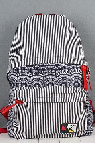 Navy Blue Folk Style Retro Strip Floral Print Canvas Backpack