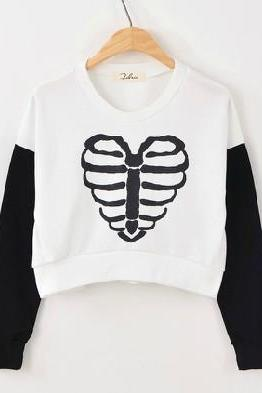 Heart Shaped Ribcage Graphic Long Sleeve Cropped Sweater