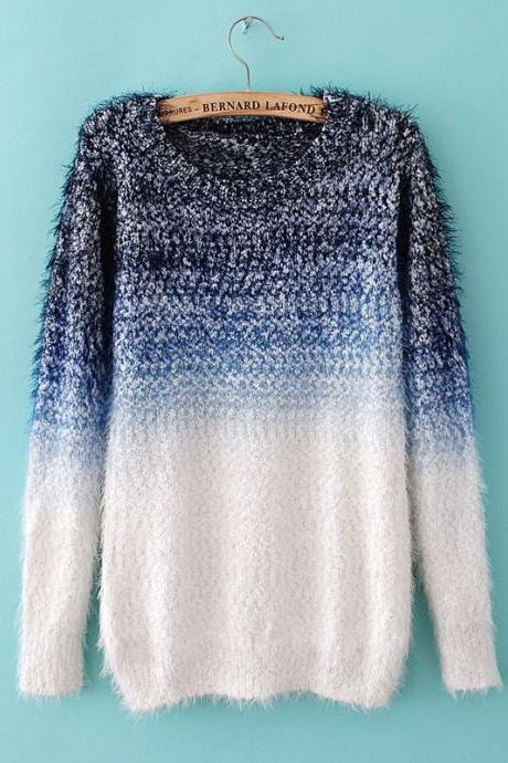 Sexy Blue And White Mohair Sweater
