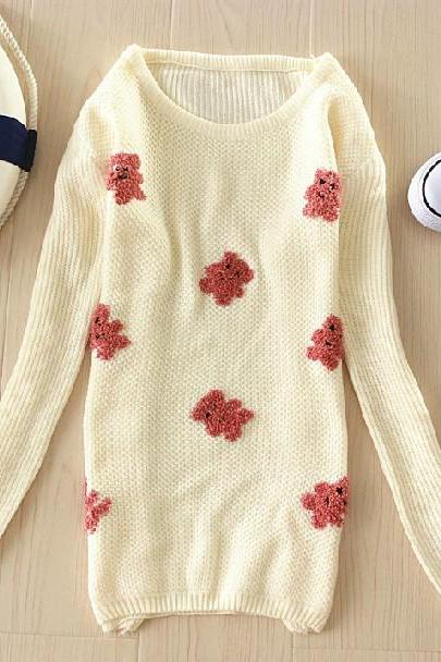 Sexy Flower Bear Designs Sweater